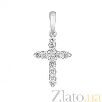 Крестик в белом золоте Сияние с бриллиантами SVA--3100785202/Бриллиант