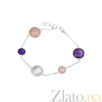 Серебряный браслет Синтия с аметистом, кварцем и розовым халцедоном 000082012
