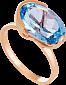 Золотое кольцо с голубым топазом Офелия 000030784