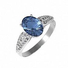 Серебряное кольцо Бриджит с кварцем под лондон топаз и фианитами