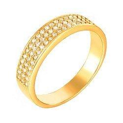Золотое кольцо Земфира в желтом цвете с дорожками фианитов