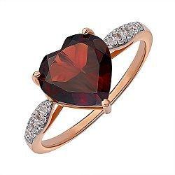 Золотое кольцо в комбинированном цвете с гранатом и цирконием 000141459