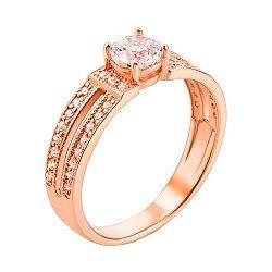 Кольцо из красного золота с цирконием 000012769