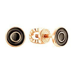 Серьги-пуссеты из красного золота с черной эмалью 000139266