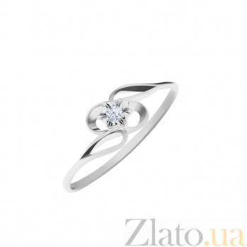 Кольцо из белого золота Эдельвейс с ажурной шинкой и белым фианитом 000096656