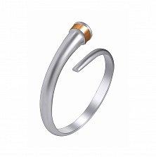 Серебряное кольцо Миари с золотой накладкой и фианитом