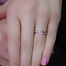 Золотое кольцо в красном цвете с фианитами Сандра