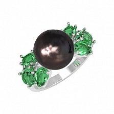 Серебряное кольцо Ксена с зеленым кварцем и жемчугом