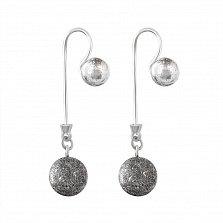 Серебряные серьги-подвески Космос с чернением