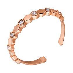 Фаланговое кольцо в красном золоте Венера с фианитами