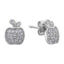 Серебряные серьги-пуссеты с фианитами 000132620