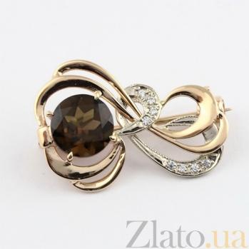 Золотая брошь с раухтопазом и фианитами Апервинд 000024365