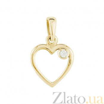 Золотой подвес с цирконием Любовь в сердце 2П304-0112