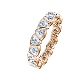 Золотое кольцо Триллионка в красном цвете с бриллиантами
