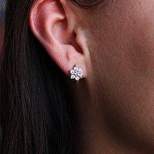 Серебряные серьги с розовым фианитом Аэлита