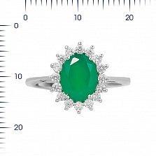 Серебряное кольцо Пелагея с зеленым агатом и фианитами