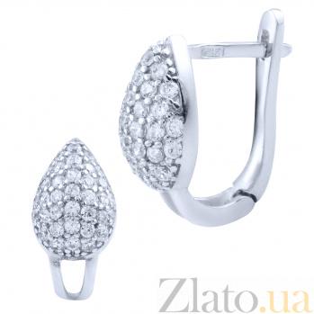Серебряные серьги Яйцо от Фаберже с белым цирконием 000077875