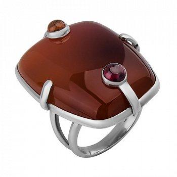 Серебряное кольцо с сердоликом, цитрином и родолитом Тоффи 000033326