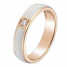 Кольцо в красном золоте Эвита с бриллиантом и эмалью