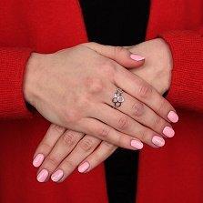 Серебряное кольцо Соты с родиевым покрытием