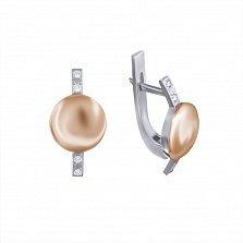 Серебряные серьги Полусфера с золотыми накладками и фианитами