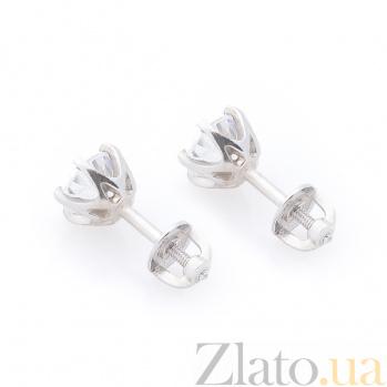 Серебряные серьги-пуссеты Зои с цирконием 000080187