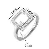 Серебряное кольцо Плавающие камни в квадрате с фианитами