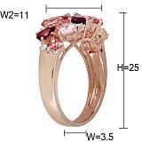 Золотое кольцо с турмалинами, гранатами и бриллиантами Восточная сказка