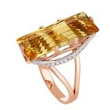 Золотое кольцо с цитрином и фианитами Одетта