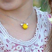 Детское серебряное колье Желтая мышка с эмалью