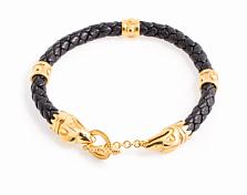 Кожаный браслет Crixus Gold с позолоченой серебряной застежкой