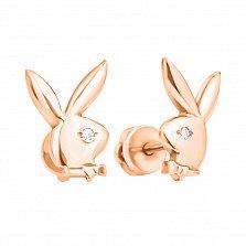 Серебряные серьги-пуссеты Кролики с цирконием и позолотой в стиле Плейбой