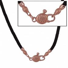 Тканевый шнурок Калисто с серебряной позолоченной застежкой Божья печать