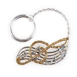 Серебряный брелок Скрипичный ключ с позолотой
