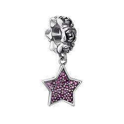 Серебряный шарм с подвеской-звездой и фианитами 000133670