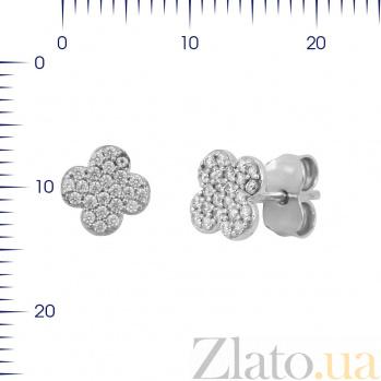 Серьги-пуссеты из белого золота Удача с фианитами 000081421