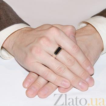 Серебряное кольцо Сальвадор с золотыми вставками и ониксом BGS--572к