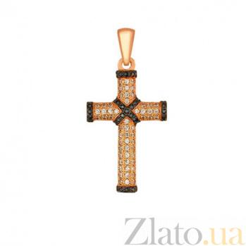 Золотой крестик с белыми и черными фианитами Спаситель VLT--ТТ3323-4