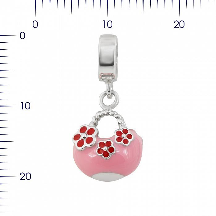 Серебряный шарм Сумочка с розовой и красной эмалью 000081710