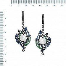 Серебряные серьги-подвески Волшебница с жемчугом, синим, зеленым и белым цирконием