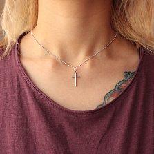 Серебряный крестик Гармония веры в минималистичном стиле