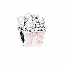 Серебряный шарм Попкорн с розовой и белой эмалью в стиле Пандора