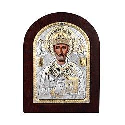 Икона Николай Чудотворец с серебром в деревянной рамке 000140107