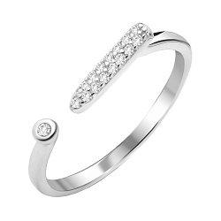 Серебряное кольцо с разомкнутой шинкой с фианитами 000112678