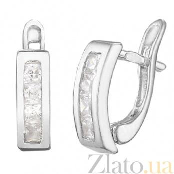 Серьги из серебра с фианитами Дублин SLX--С2Ф/100