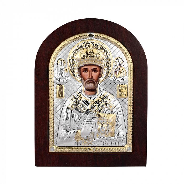 Икона Николай Чудотворец с серебром в деревянной рамке 000140107 000140107