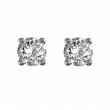Сережки-пуссеты из белого золота Наина с бриллиантами