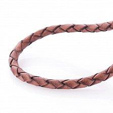 Кожаный шнурок Сила духа с серебряной застежкой, позолотой и чернением