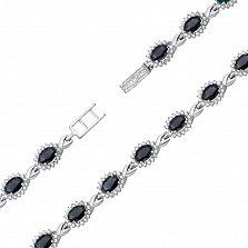 Серебряный браслет с сапфирами и фианитами 000134688