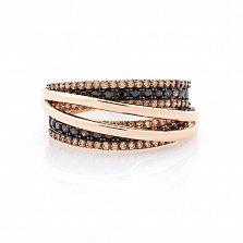 Золотое кольцо Пернелла с коньячными фианитами и цвета шампань